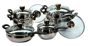 Stainless steel pots and pans Royalty Free Stock Image