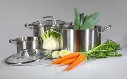 Stainless steel pots and pans Stock Photos