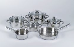 Stainless steel pots and pans Royalty Free Stock Photo