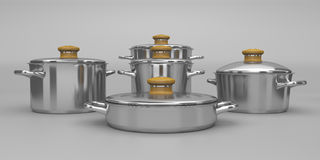 Stainless steel pots Royalty Free Stock Image