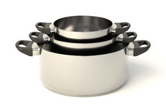 Stainless steel pots Stock Images