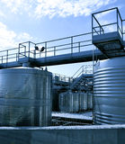 Stainless steel reservoirs. For wine Royalty Free Stock Photos