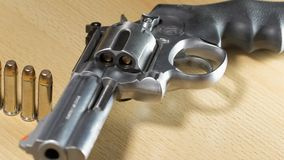 Stainless steel revolver caliber 357 Magnum stock video footage