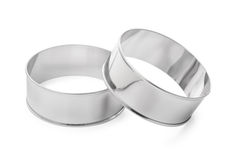 Stainless steel round cooking molds Stock Images