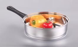 Stainless steel saucepan Stock Photography