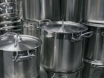 Stainless steel saucepans Stock Photos