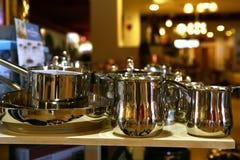 Stainless steel sausepans on tray stock photos