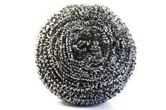 Stainless steel scourer. On white background Stock Images