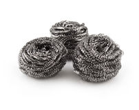 Stainless steel scouring pad three pieces stock image