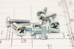 Stainless steel screws on projects. Close up Royalty Free Stock Image