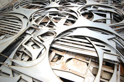 Stainless Steel Shapes. Precision cut stainless steel shapes royalty free stock image