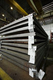 Stainless steel sheets deposited in stacks. In a deposit Stock Photos