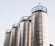 Stainless steel silos Royalty Free Stock Images
