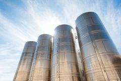 Stainless steel silos. At high noon Stock Photography