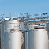 Stainless steel silos. Stock Image