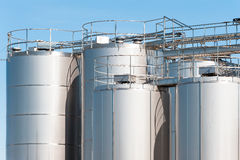 Stainless steel silos. Royalty Free Stock Photos