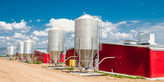 Stainless steel silos Stock Image