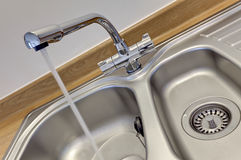 Stainless steel sink Stock Photography