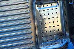 Stainless steel sink drainer unit. Photo of a new stainless steel sink drainer unit ideal for kitchen equipment,manufacturing etc Stock Image