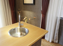 Stainless steel sink Royalty Free Stock Photos