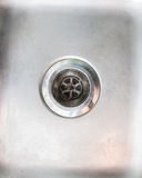 Stainless steel sink plug hole close up Stock Images
