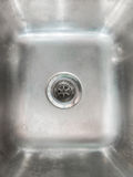 Stainless steel sink plug hole close up Royalty Free Stock Photos