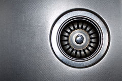 Stainless steel sink plug hole Stock Photography