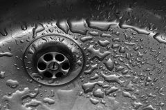 Stainless steel sink texture. Shiny stainless steel sink with waterdrops Stock Images