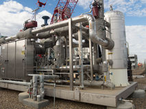 Stainless Steel Skid. Fuel gas treatment skid constructed of stainless steel Stock Photography