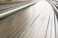 Stainless steel slat 006. Mix of stainless steel slat in warehouse Stock Photos