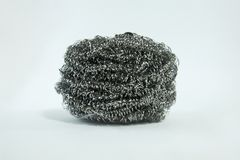 Stainless steel sponge scrubber for wash cleaning object kitchenware . royalty free stock photos