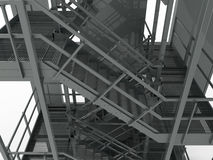 Stainless steel stairs. 3D rendered illustration of stainless steel stairs. The composition is  on a white background with no shadows Stock Images