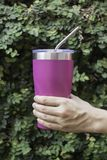 Stainless steel straw and thermos mugs for reusable set. Stock photo Stock Photos