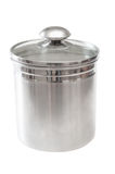 Stainless steel sugar canister Royalty Free Stock Photo