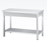 Stainless steel tables Stock Images