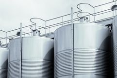 Stainless steel tank at the winery for wine maturation stock photography