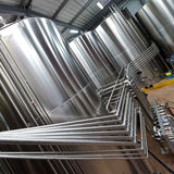 Stainless steel tank at the winery for wine Royalty Free Stock Photo