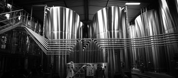 Stainless steel tank at the winery for wine Stock Image