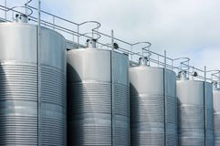 Stainless steel tank at the winery for wine maturation royalty free stock photos