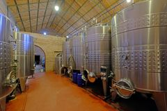 Stainless steel tanks for fermentation in modern Malbec wine factory, San Juan, Argentina, also seen in Mendoza stock images