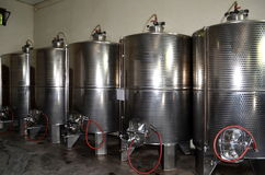 Stainless steel tanks for a fermentation of wine modern manufacture of winemaking Royalty Free Stock Photography