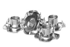 Stainless Steel Tee Nuts Isolated Royalty Free Stock Image