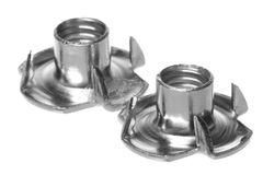 Stainless Steel Tee Nuts Isolated Royalty Free Stock Photos