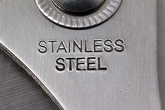 Stainless steel text on Tool Stock Photography