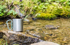 stainless steel thermo mug near mountain spring Royalty Free Stock Photos