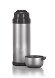 Stainless steel thermos for drinks and cup. Stock Photos