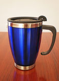 Stainless steel travel mug Stock Photo