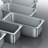 Stainless steel trays Royalty Free Stock Image