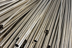 Stainless steel tubes Royalty Free Stock Image