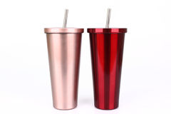 Stainless steel and tumbler cup  on white background Stock Photography